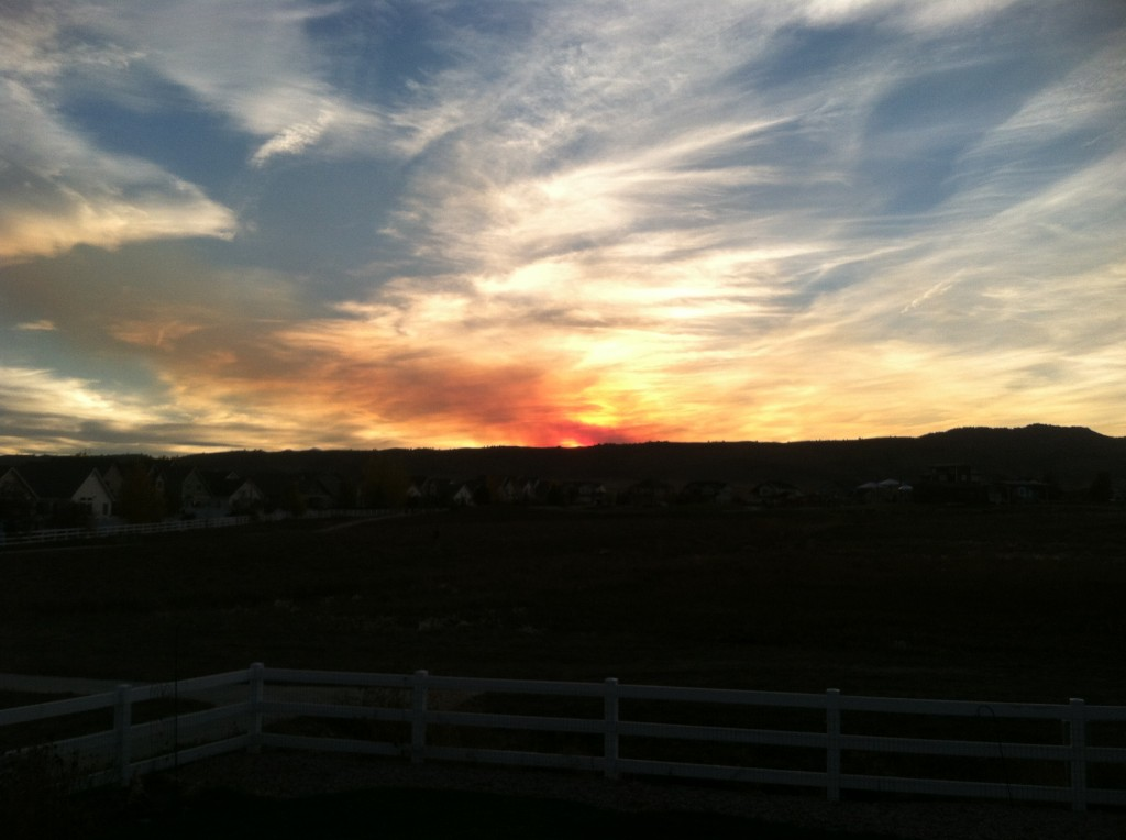 Fern Lake fire sunset 10/20/12
