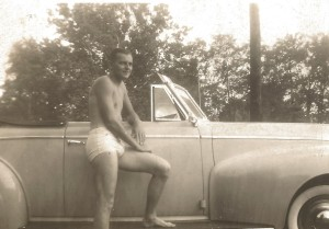 Dad and his car, before me